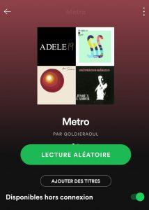 Spotify - Playlist disponible Hors connexion - conseils