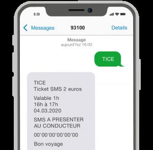Aperçu du billet de transport acheté par SMS