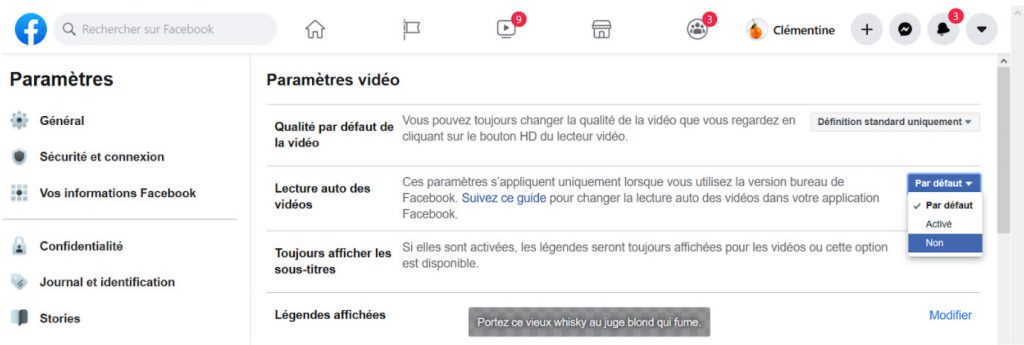 Paramètres Facebook - impact environnemental - vidéos en ligne
