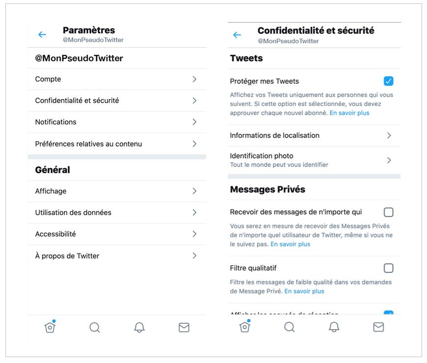 Paramètres Twitter - Confidentialité - Réseaux sociaux et ados