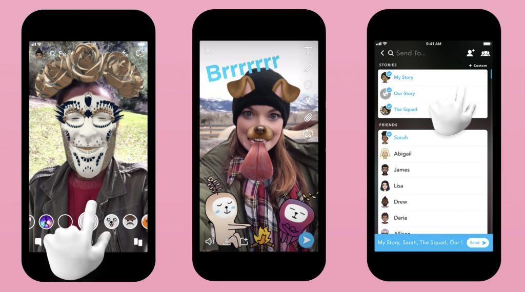 Aperçu application Snapchat - filtres - réseaux sociaux et ados