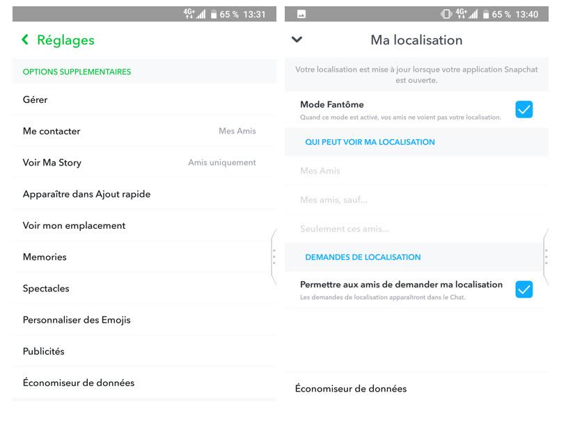 Réglage localisation - Snapchat - réseaux sociaux et ados