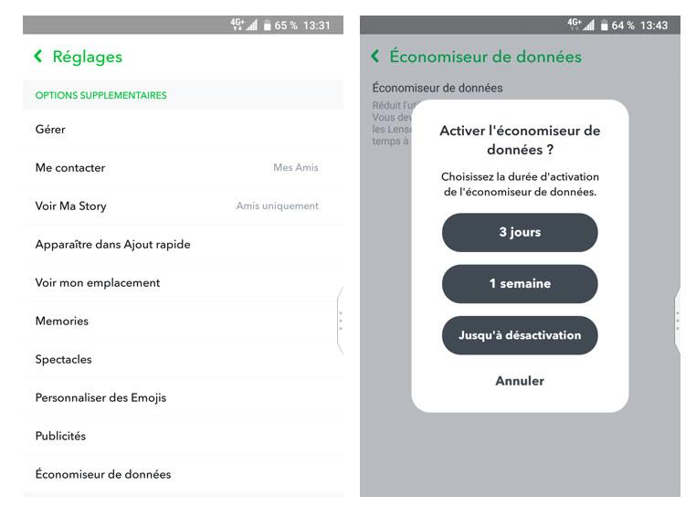 Paramètres - Snapchat - économiseur de données - data - réseaux sociaux et ados