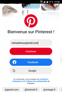 Application Pinterst - accueil - Réseaux sociaux et ados