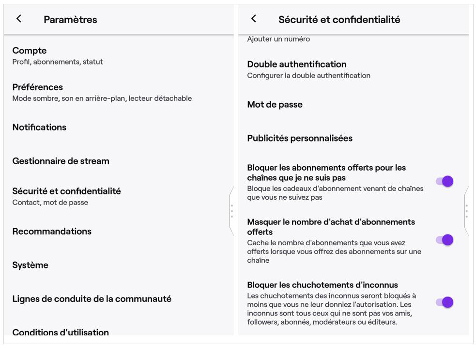 Paramètres - mobile - sécurité - Twitch - Réseaux sociaux et ados