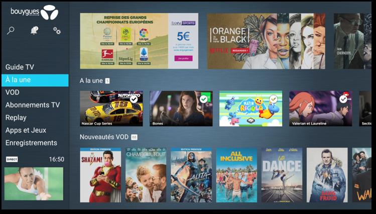Accueil - menu - androidTV - Bbox Miami - Bbox 4k