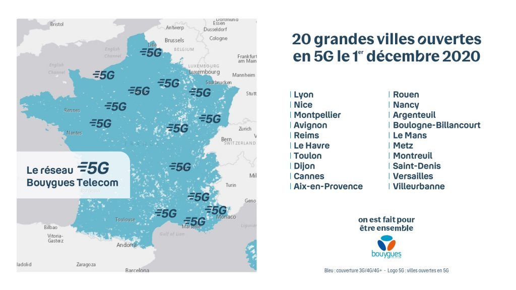 Carte de France de la 5G - Bouygues Telecom