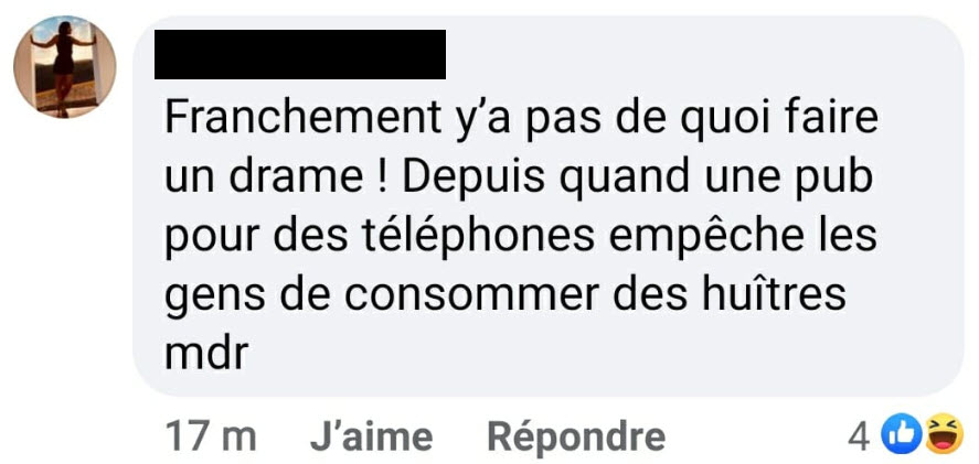 Témoignage 2 Facebook - publicité Noël 2020 - huîtres - Bouygues Telecom