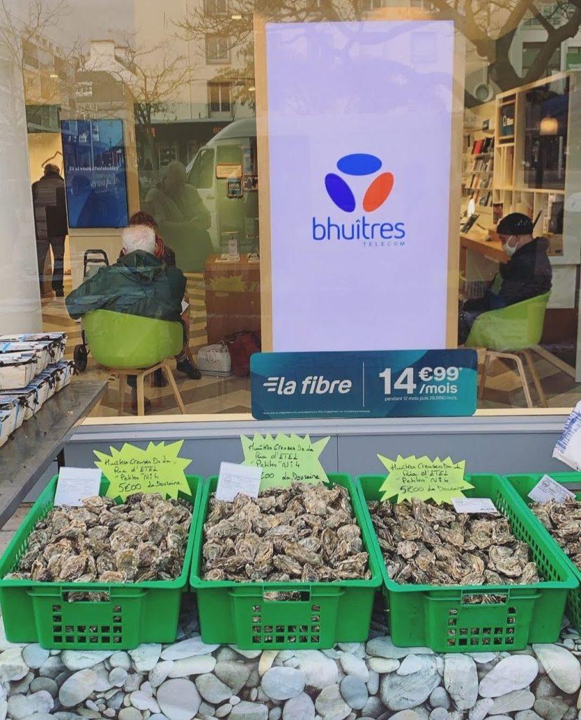 Vente d'huîtres - réconciliation - publicité Noël