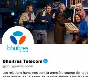 compte Twitter Bhuîtres Telecom - réconciliation - publicité Noël