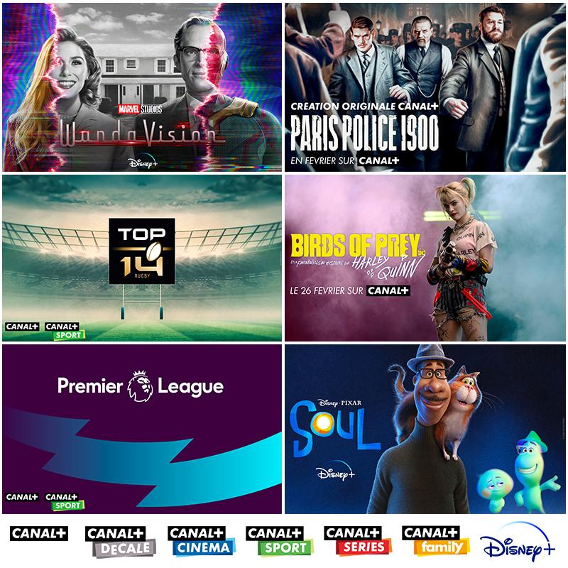 Canl+ - Disney+ - Cinéma - Sport - Bbox