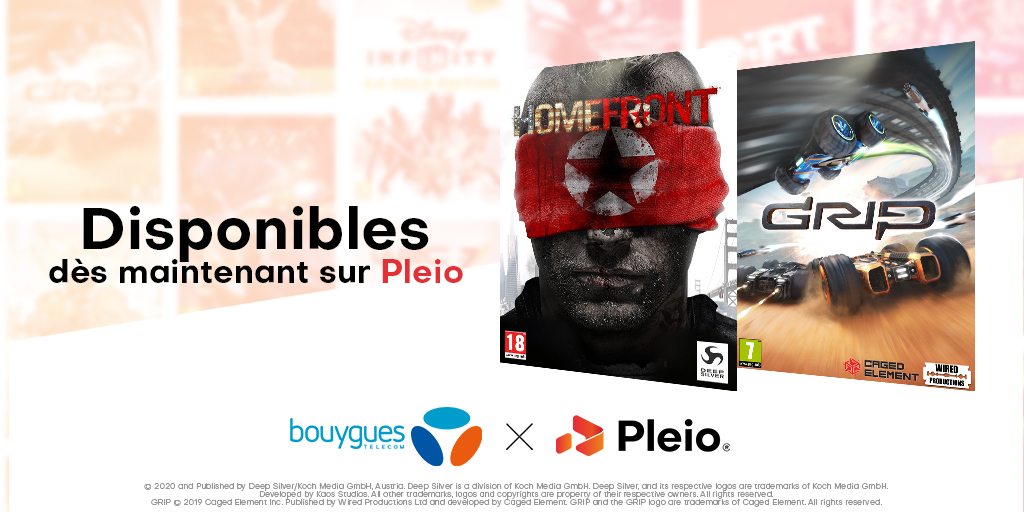 Pleio - jeux Homefront et GRIP Combat Racing